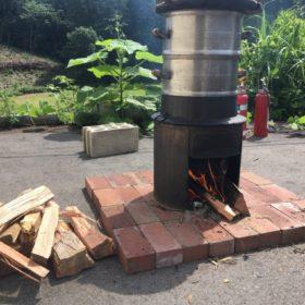 餅つき&薪で火を起こし体験