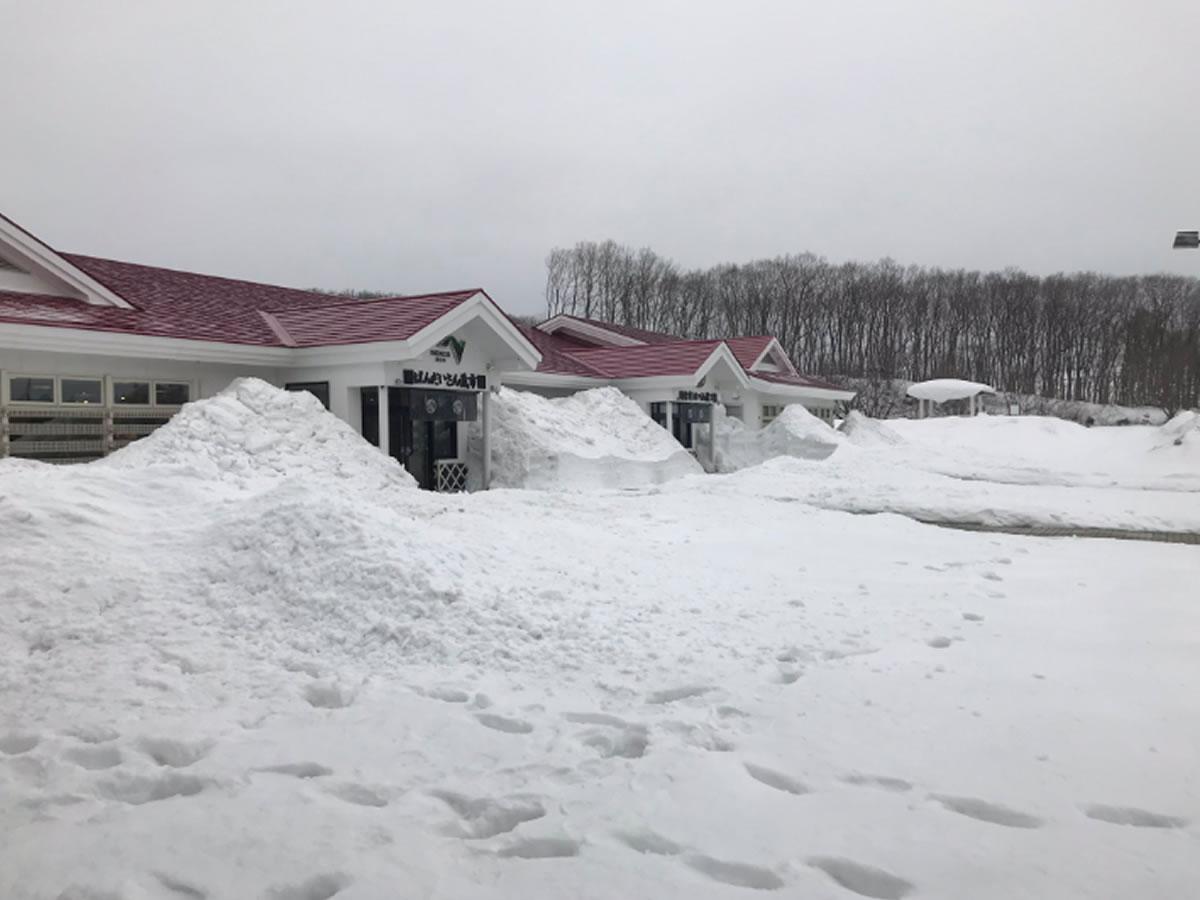 建物の脇に雪が